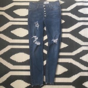 Free People Reagan Distressed Button Front Skinny